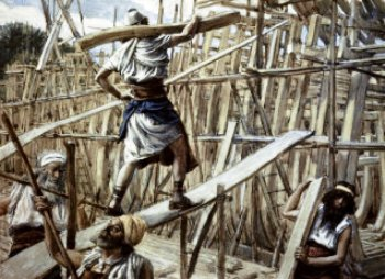A  picture ofmen constructing the ark.