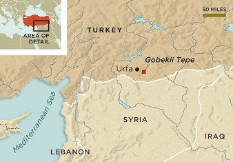A map placing the ruins of Gobekli Tepe in southern Turkey.